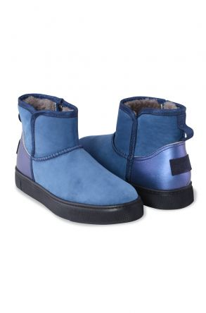 Pegia Genuine Leather & Shearling Women's Boots With A Zip 195017 Blue