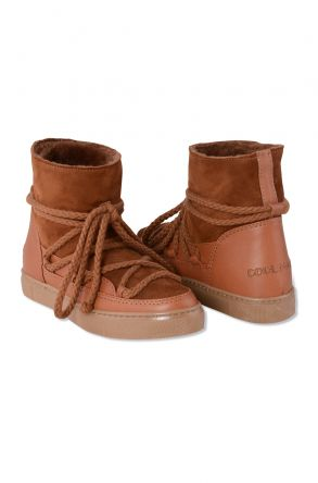 Cool Moon Genuine Suede & Shearling Women's Sneakers 355001 Ginger