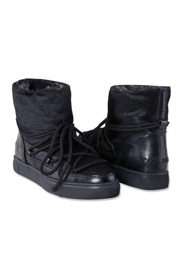 Cool Moon Hakiki Deri İçi Kürk Cavalino Bayan Sneaker 355002 Siyah