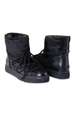 Cool Moon Genuine Cavallino Leather & Shearling Women's Sneakers 355002 Black