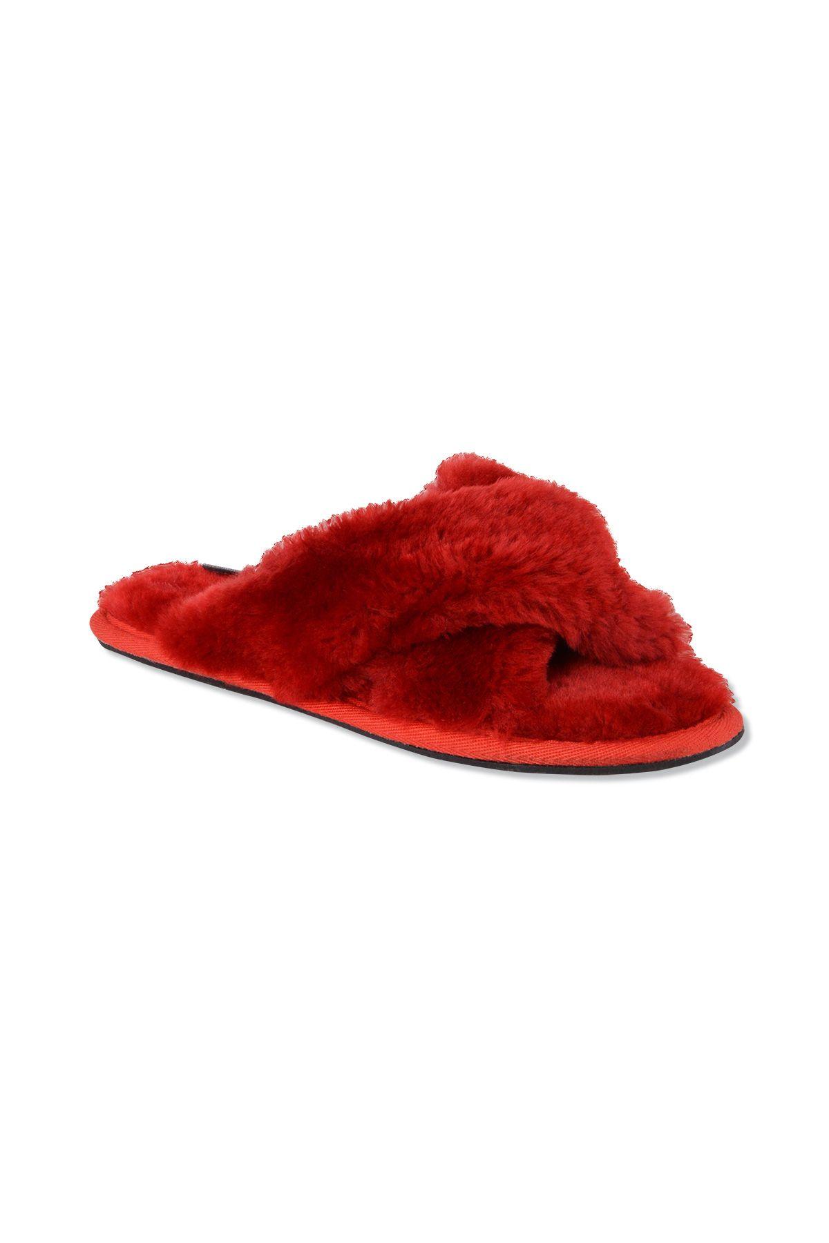 Pegia Hakiki Kürk Çapraz Bayan Ev Terliği 191096 Kırmızı