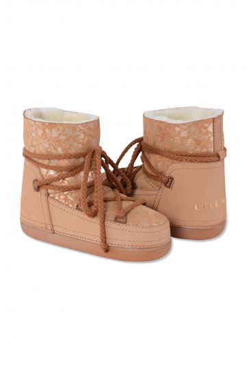 Cool Moon Women Moonboots From Genuine Sheepskin Fur With Flower Pattern 351002 Brown