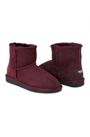 Pegia Short Women Boots From Genuine Suede And Sheepskin Fur 191021 Plum