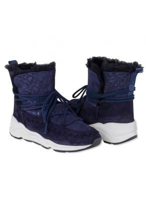 Pegia Laced Women Shearling Boots With Flower Pattern 195012 Navy blue