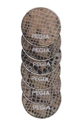 Pegia Altılı Kroko Baskı Hakiki Deri Bardak Altlığı B615 Haki