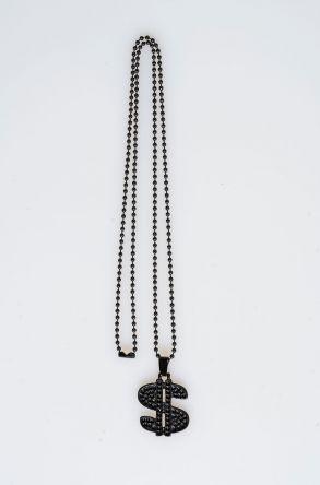 Pegia Deri Kılıflı Metal Kolye 19KL22 Siyah