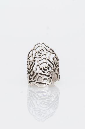 Pegia Deri Çantalı Vintage Tasarım Yüzük 19YZ09 Gümüş