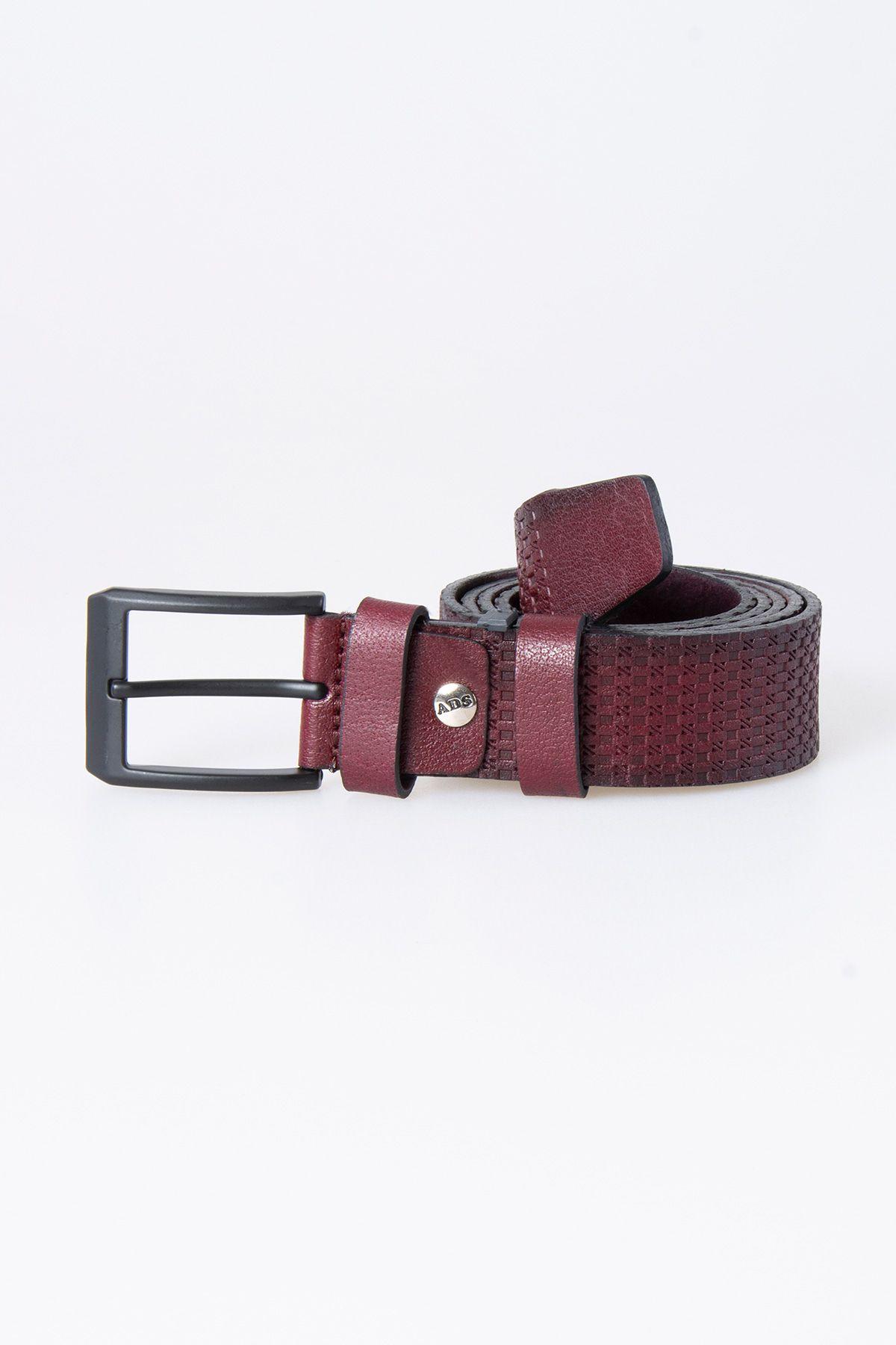 Pegia Original Leather Men's Belt 19KMR04 Claret red