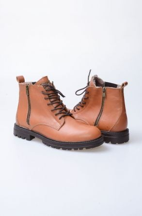 Pegia Shoelaced Genuine Leather & Shearling Men's Boots 206001 Ginger