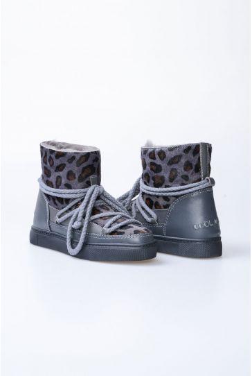 Cool Moon Hakiki Deri İçi Kürk Cavalino Bayan Sneaker 355002 Gri