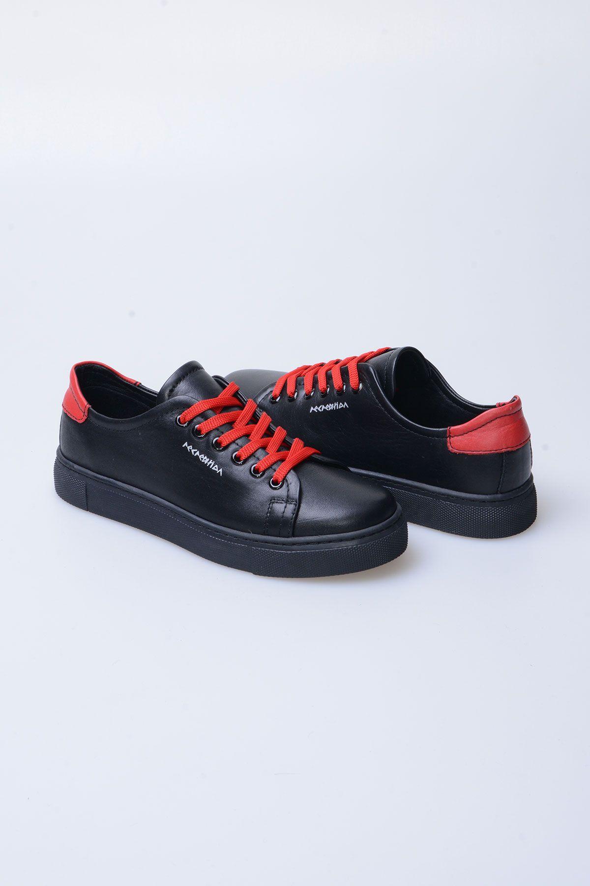Pegia Recreation Hakiki Deri Bayan Sneaker 19REC201 Siyah/Kırmızı