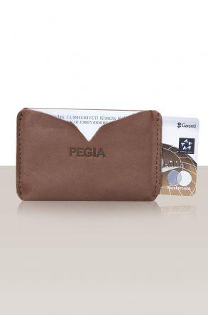 Pegia Hakiki Deri Kartlık Cüzdan 19CZ101 Kahve