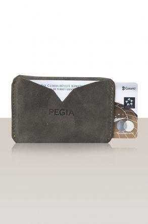 Pegia Hakiki Süet Deri Kartlık Cüzdan 19CZ103 Gri