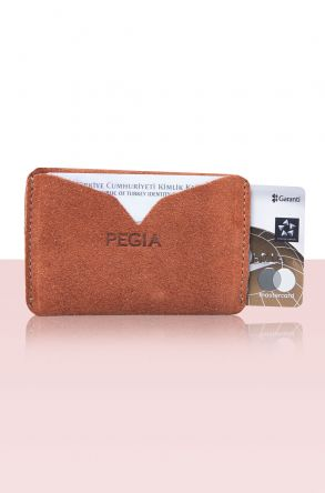 Pegia Original Leather Suede Cardholder Wallet 19CZ103 Brick-red