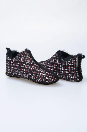 Pegia Hakiki Kürk Desenli Bayan Ev Ayakkabısı 101298 Siyah
