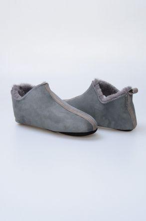 Pegia Hakiki Kürklü Süet Erkek Ev Ayakkabısı 111009 Açık Gri