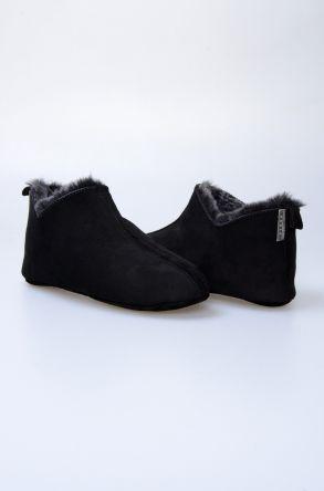Pegia Hakiki Kürklü Süet Erkek Ev Ayakkabısı 111009 Siyah