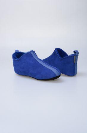 Pegia Hakiki Deri Kürklü Erkek Ev Ayakkabısı 111010 Mavi