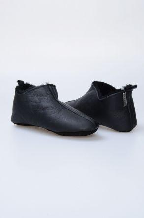 Pegia Hakiki Deri İçi Kürklü Erkek Ev Ayakkabısı 111099 Siyah
