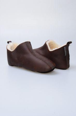 Pegia Hakiki Kürklü Süet Erkek Ev Ayakkabısı 980418 Kahve