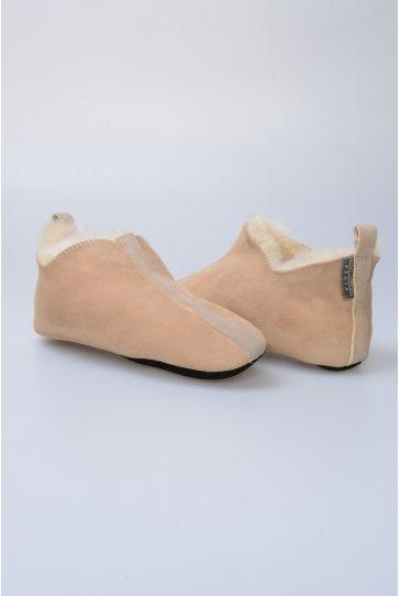 Pegia Hakiki Kürk Bayan Ev Ayakkabısı 980422 Krem