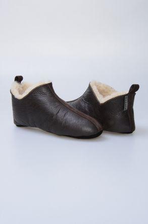 Pegia Hakiki Deri İçi Kürklü Erkek Ev Ayakkabısı 111099 Koyu Kahve
