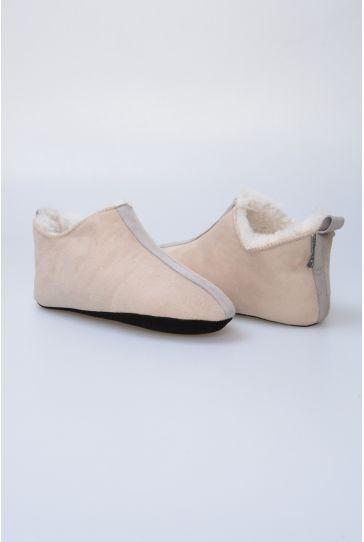 Pegia Hakiki Kürk Bayan Ev Ayakkabısı 980431 Vizon