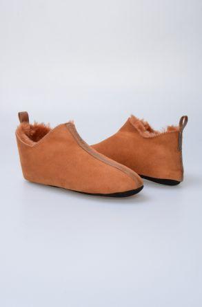 Pegia Hakiki Kürklü Süet Erkek Ev Ayakkabısı 980435 Taba