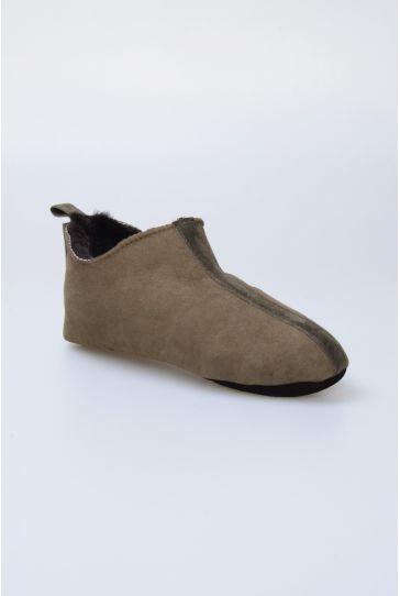 Pegia Hakiki Kürk Bayan Ev Ayakkabısı 980456 Haki