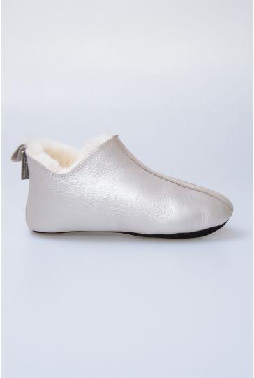 Pegia Hakiki Kürk Bayan Ev Ayakkabısı 980446 Gümüş
