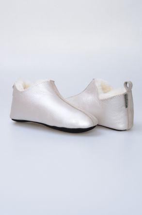 Pegia Hakiki Kürk Bayan Ev Ayakkabısı 980446 Silver