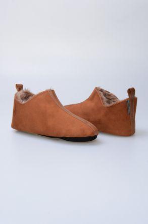 Pegia Hakiki Kürk Bayan Ev Ayakkabısı 980478 Taba