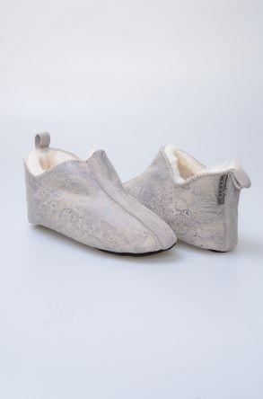 Pegia Hakiki Kürk Desenli Bayan Ev Ayakkabısı 980503 Vizon