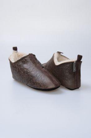 Pegia Hakiki Kürk Bayan Ev Ayakkabısı 980512 Haki