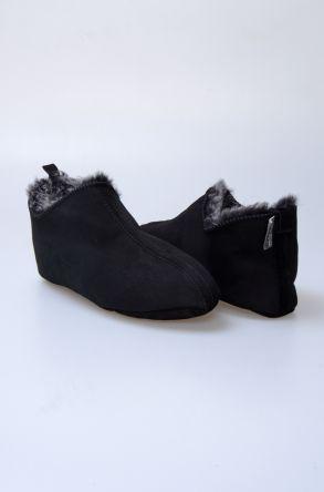 Pegia Hakiki Kürklü Süet Erkek Ev Ayakkabısı 980529 Siyah