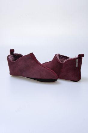 Pegia Hakiki Kürk Bayan Ev Ayakkabısı 980573 Bordo