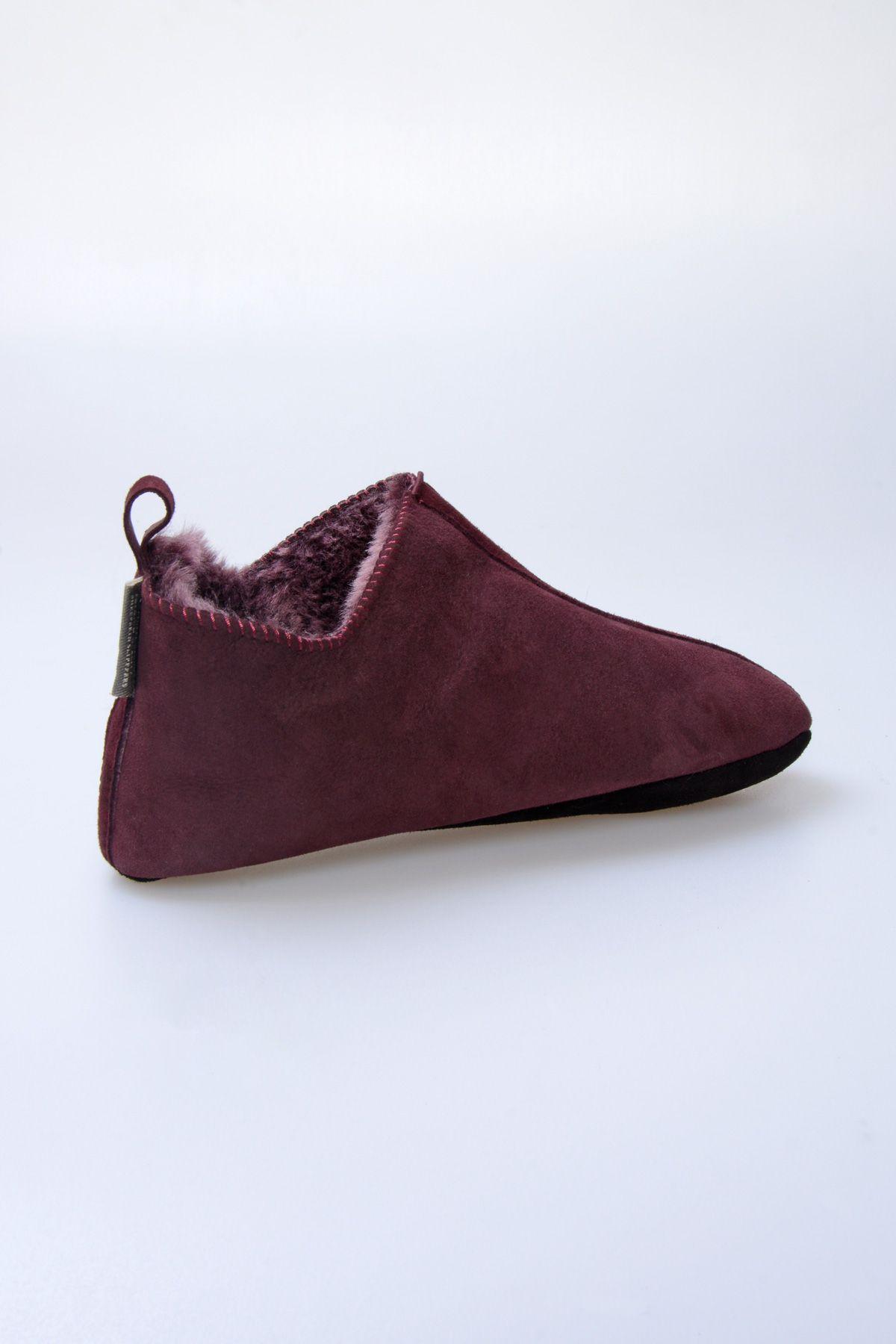 Pegia Original Fur Ladies Home Shoes 980573 Claret red