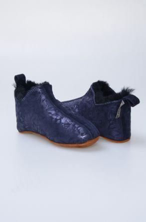 Pegia Hakiki Kürklü Çocuk Ev Ayakkabısı 880257 Темно-синий