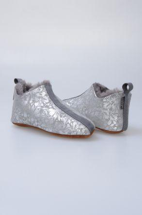 Pegia Hakiki Kürklü Desenli Çocuk Ev Ayakkabısı 880264 Gümüş