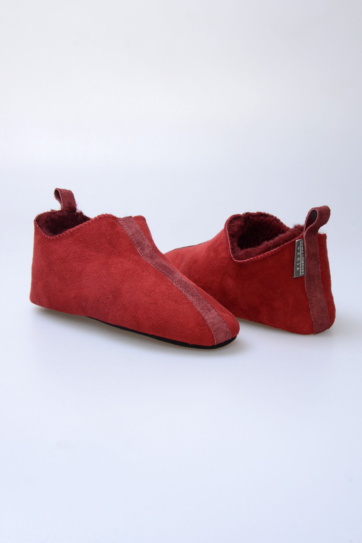 Pegia Original Fur Ladies Home Shoes 980571 Claret red