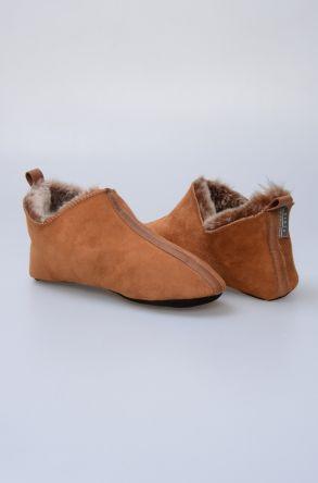 Pegia Hakiki Kürk Bayan Ev Ayakkabısı 980520 Taba