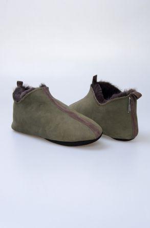 Pegia Hakiki Kürklü Süet Erkek Ev Ayakkabısı 980530 Yeşil