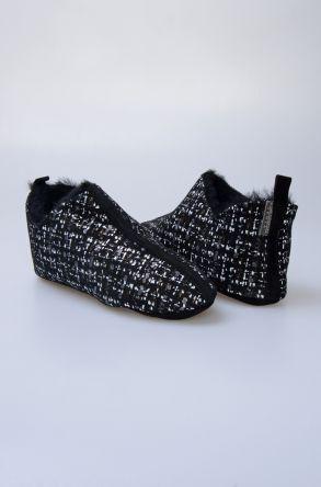Pegia Hakiki Kürk Bayan Ev Ayakkabısı 980557 Siyah