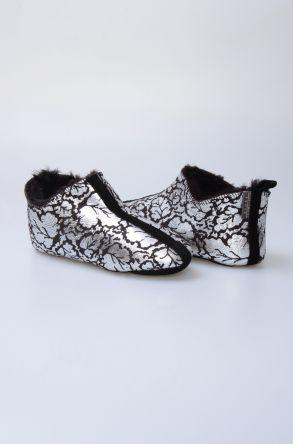 Pegia Hakiki Kürk Desenli Bayan Ev Ayakkabısı 980537 Gümüş