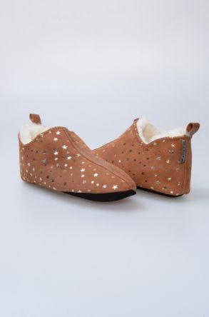 Pegia Hakiki Kürk Bayan Ev Ayakkabısı 980538 Ginger