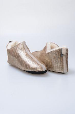Pegia Hakiki Kürk Bayan Ev Ayakkabısı 980541 Altın