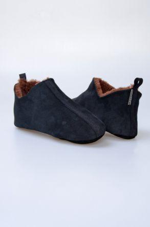 Pegia Hakiki Kürklü Süet Erkek Ev Ayakkabısı 980574 Siyah