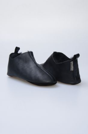 Pegia Hakiki Kürk Bayan Ev Ayakkabısı 980577 Siyah