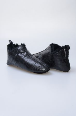 Pegia Hakiki Kürklü Erkek Ev Ayakkabısı 980578 Siyah