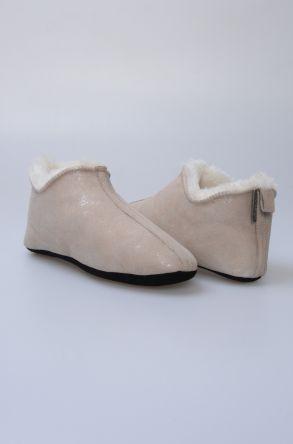 Pegia Original Fur Ladies Home Shoes 980581 Gray